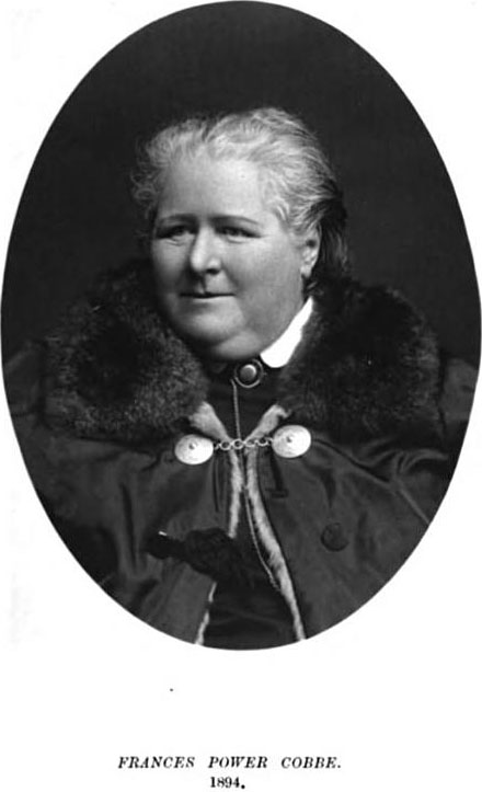 Frances Power Cobbe, 1894. From Frances Power Cobbe and Blanche                                 Atkinson, Life of Frances Power Cobbe as                                         Told by Herself.