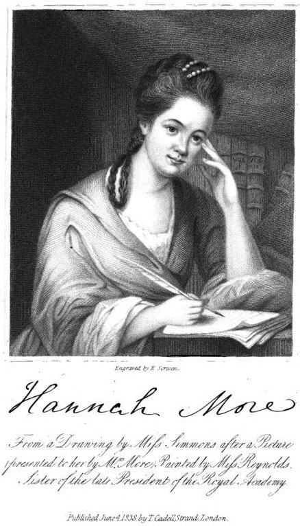 Portrait of Hannah More. From a drawing by Miss Simmons. Painted                                 by Miss Reynolds. Engraved on steel by E. Scriven. From Henry                                 Thompson,                                      The Life of Hannah More.