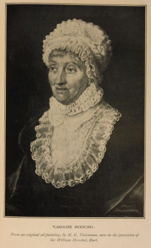 Caroline Herschel. From an original oil painting, by M. G.                                 Titlemann, now in the possession of Sir William Herschel, Bart. From                                 A. J. Green Armytage,                                      Maids of Honour.