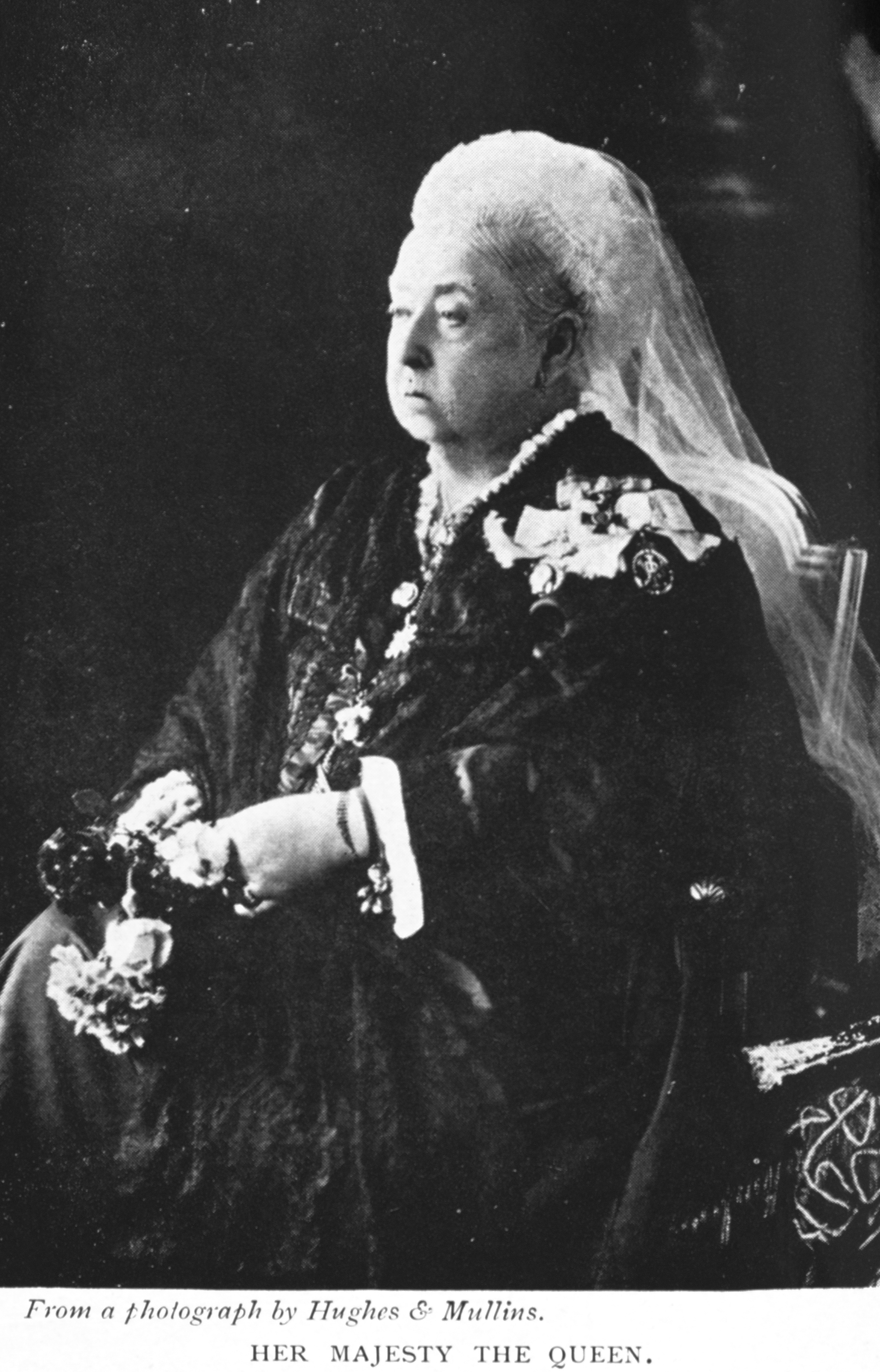 Her Majesty the Queen. From a photograph by Hughes & Mullins.                                 From Rosa Nouchette Carey,                                      Twelve Notable Good Women of the XIX                                         Century.