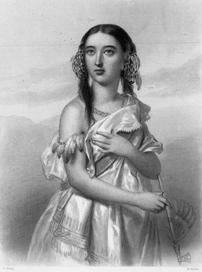 Pocahontas. By Charles Staal, engraved by B. Eyles. From Mary                                 Cowden Clarke,                                      World-Noted Women.