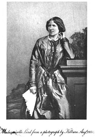 Mademoiselle Lind from a photograph by Kilburn. From Henry Scott                                 Holland and William Smyth Rockstro, Memoir                                         of Madame Jenny Lind-Goldschmidt.